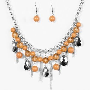 3/$15 Here Comes The Storm - Brown Necklace Set